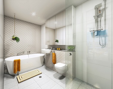 Evoke apartments Bathoom